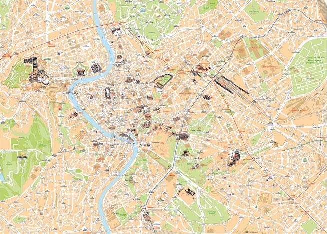 Cartina Di Roma Centro Con Monumenti.Mappa Di Roma Cartine Digitali Pdf Da Stampare