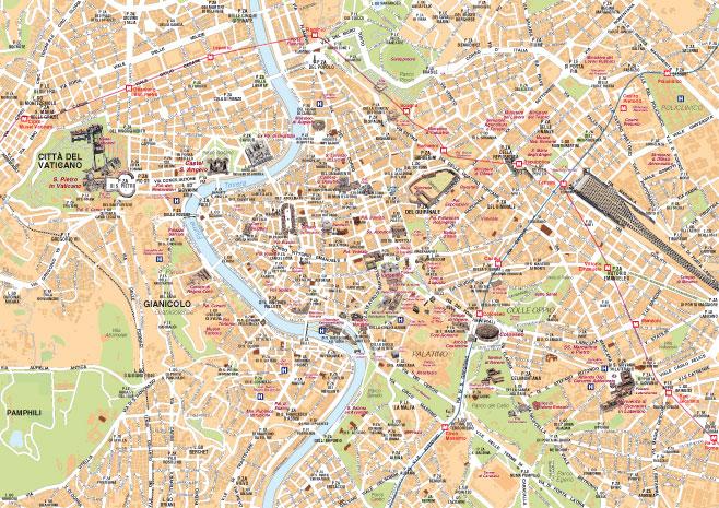 Cartina Roma Centro Con Monumenti.Mappa Di Roma Cartine Digitali Pdf Da Stampare